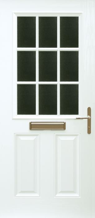 Global composite doors grp door 2 panel 1 grill for Back doors fitted